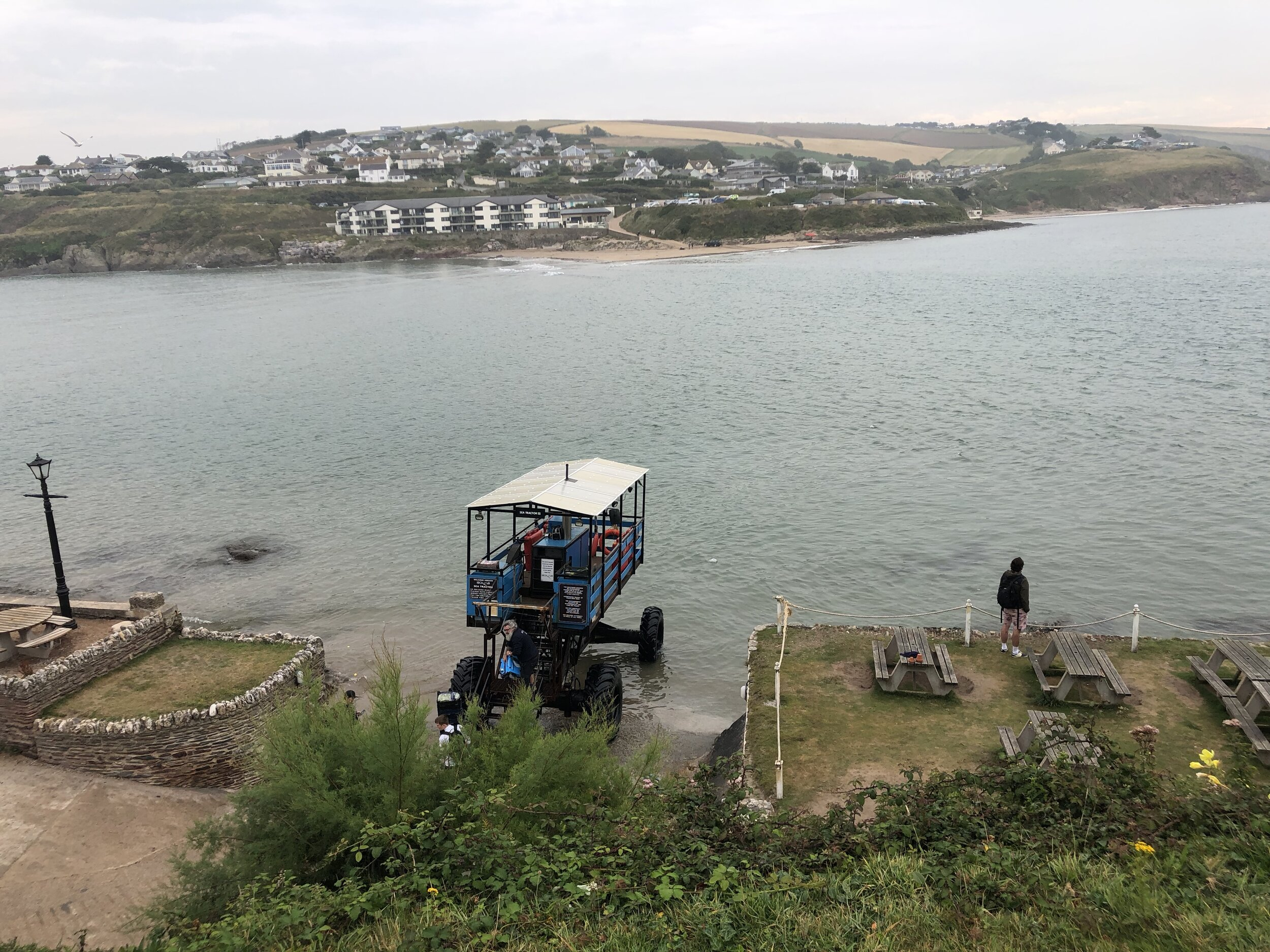 The view from Burgh Island and the sea tractor