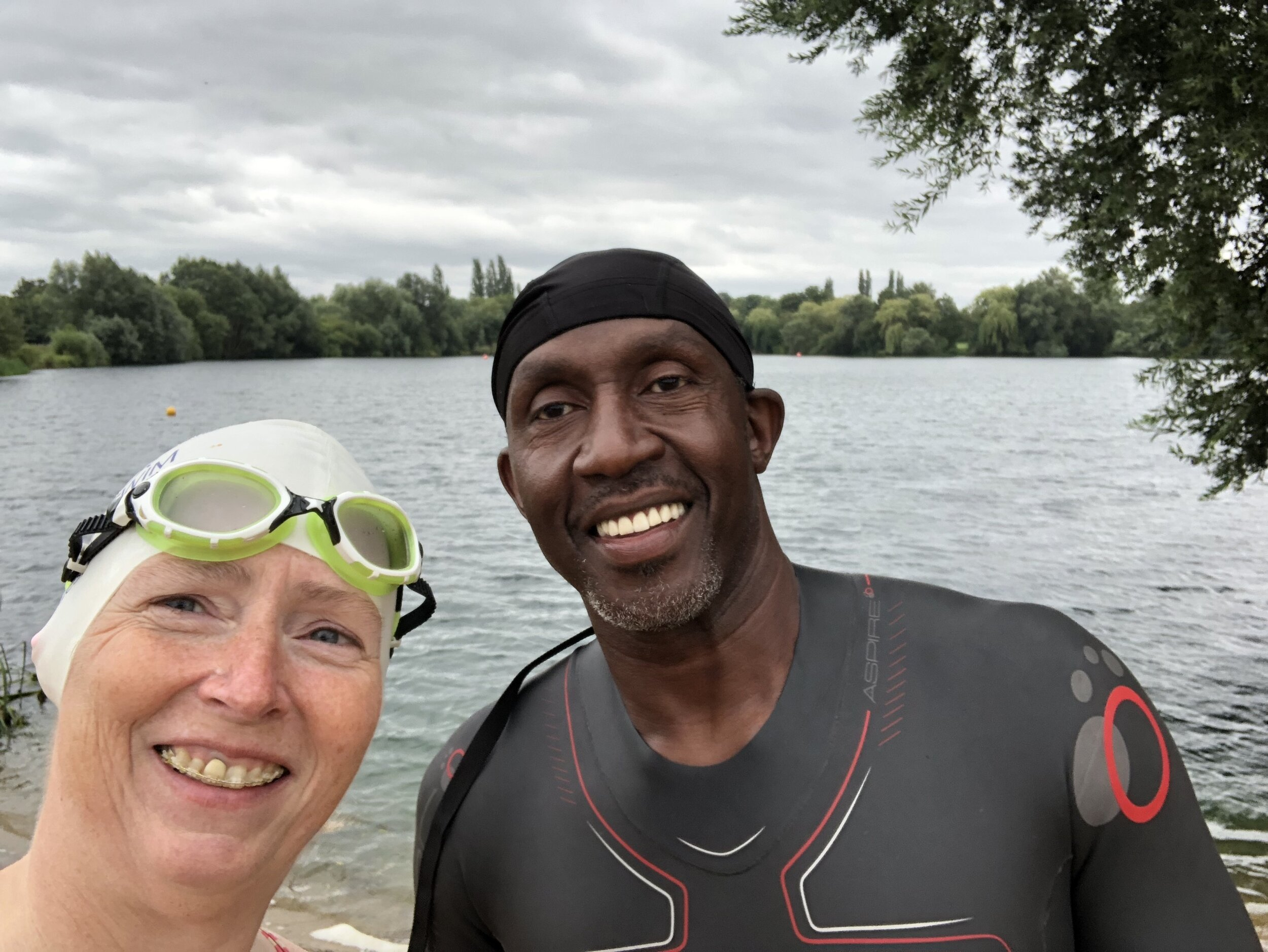 Swimming with Linford Christie at Shepperton Lake
