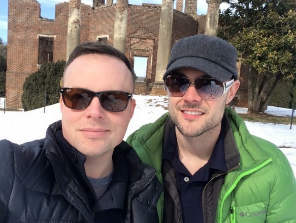 Ben and I touring historic Barboursville; winter 2014-15