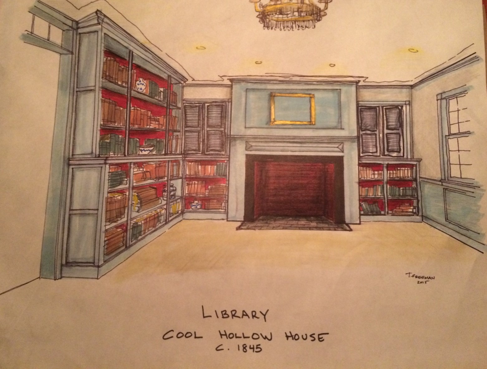 Sketch I did for the original concept of the library that occupies the space of the original c.1820 kitchen