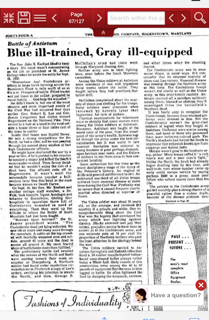 Article from Herald Mail 1973 detailing account.