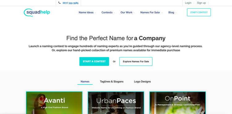 Encuentre el nombre perfecto para una Startup, por Squadhelp.com