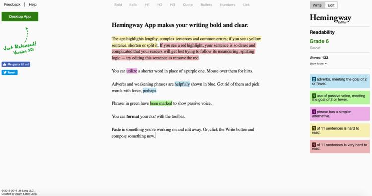 Escribe a nuevas alturas con la aplicación de legibilidad de Hemingway para tu Startup