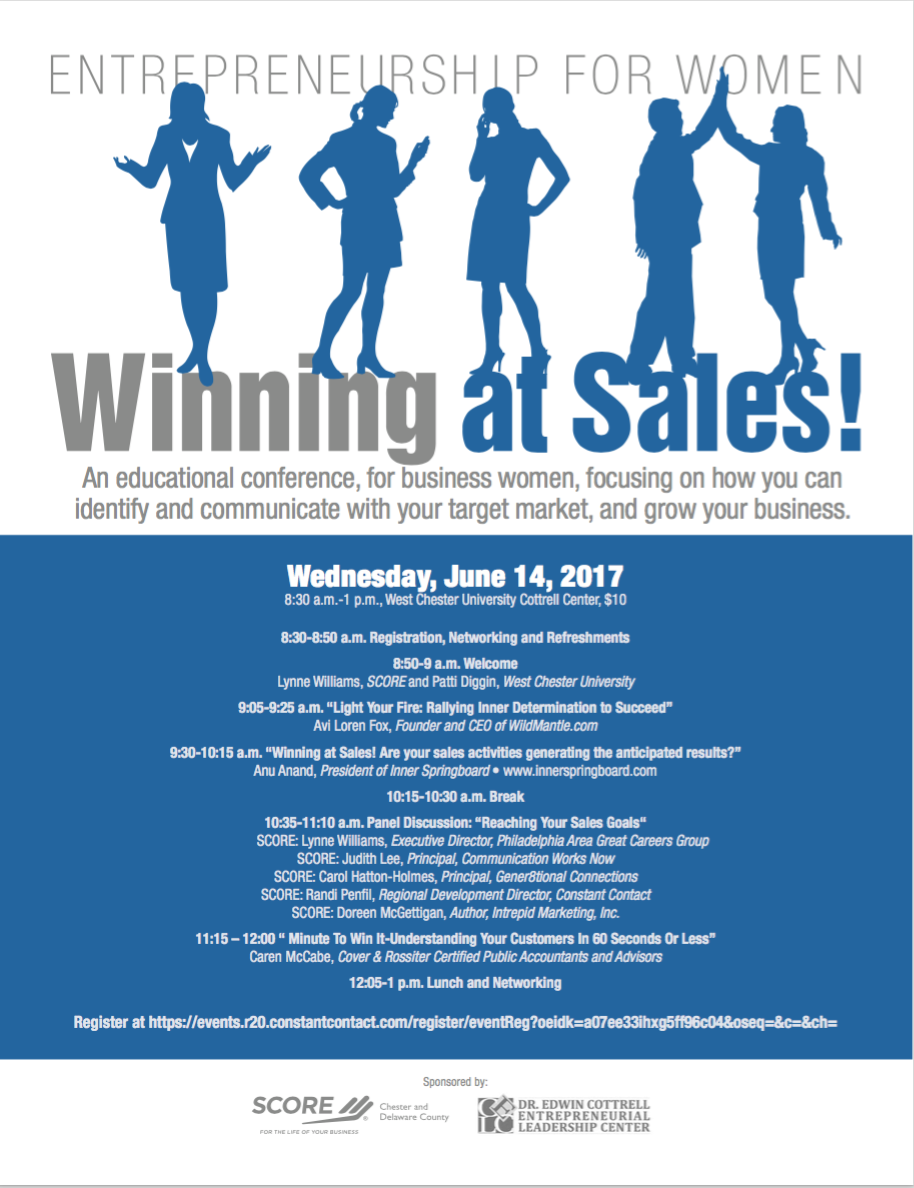 Check Out Avi's Next Speaking Event - Avi will be speaking at Entrepreneurship for Women Winning at Sales on Wednesday, June 14, 2017.Register here.