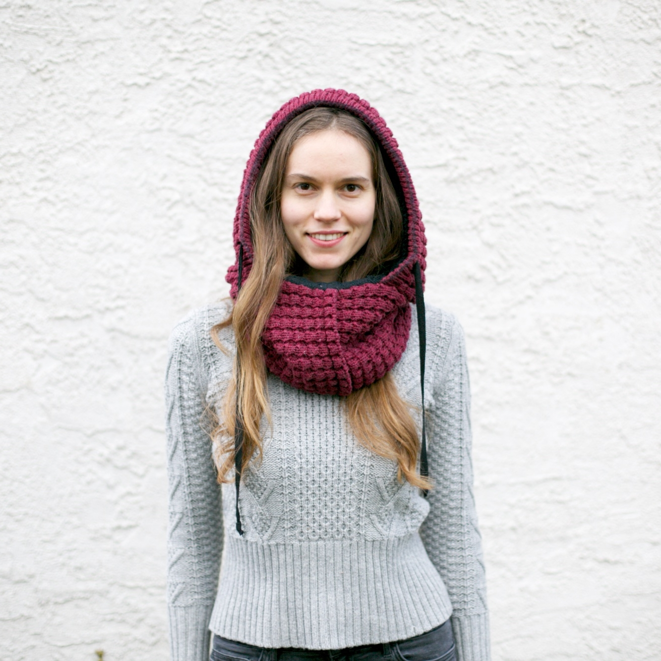 Woman Entrepreneur and Main Line Philadelphia Business Consultant Avi Loren Fox in Wild Mantle Hooded Scarf