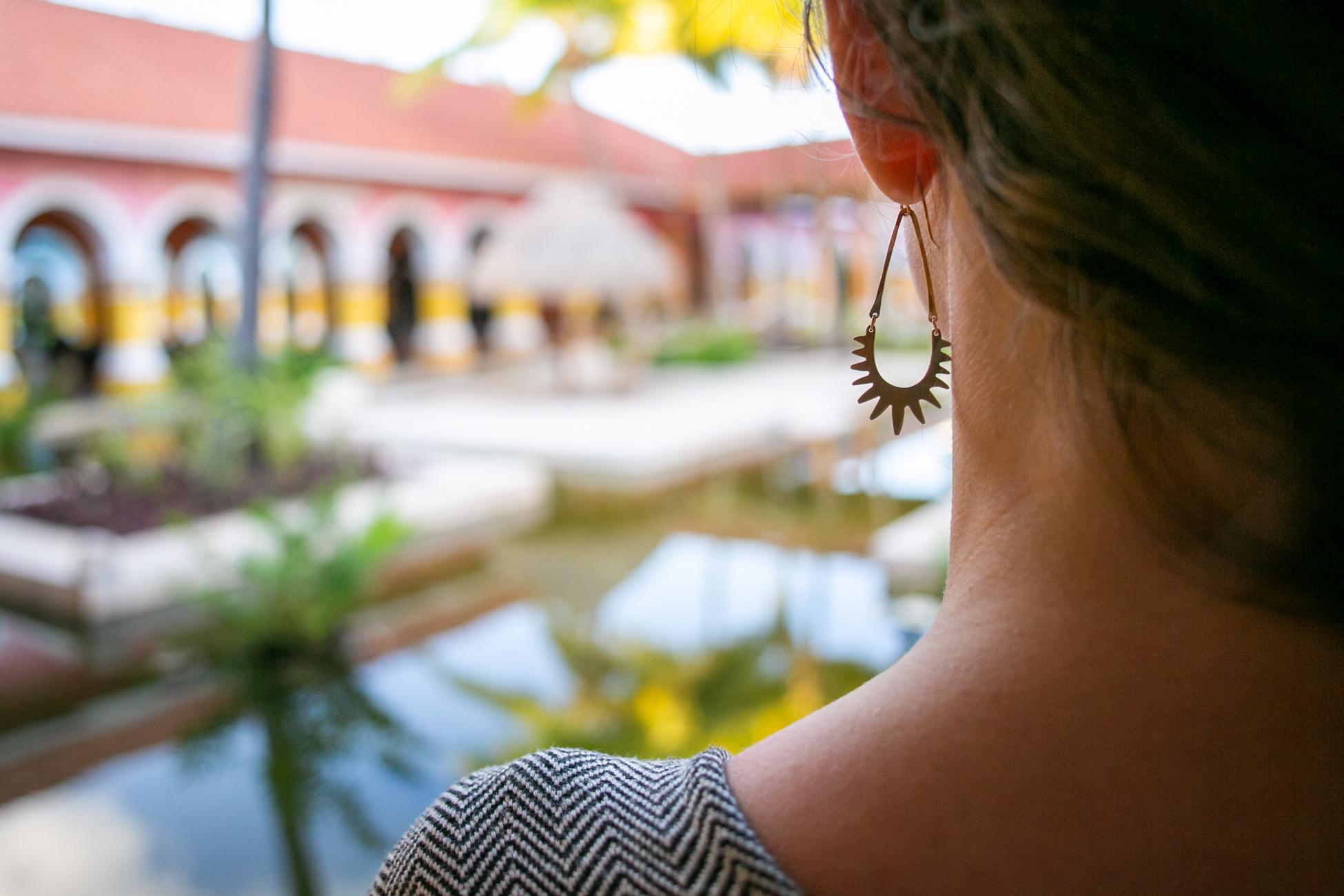 Overlooking the resort. Earrings:  Carolyn Keys