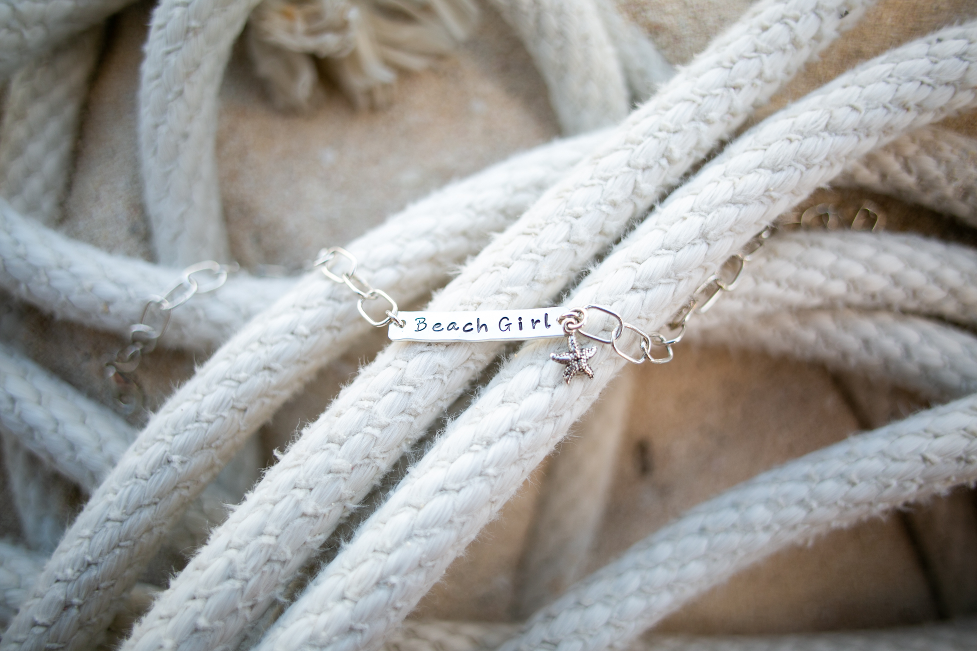 Beach girl anklet on nautical rope by  Tracy Tayan .