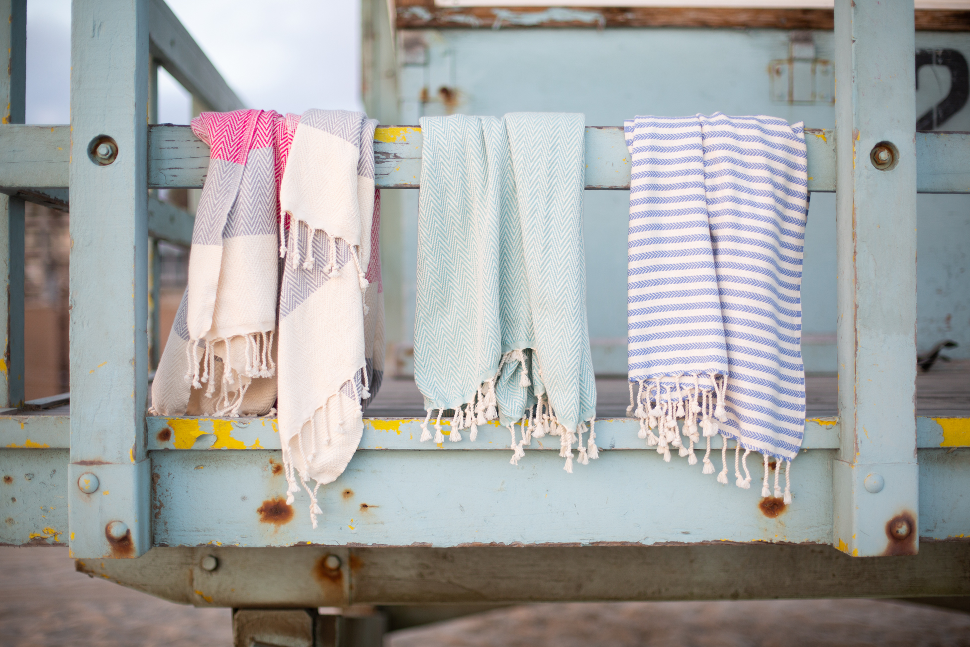 Fig 3. Turkish Towels on the lifeguard stand. Photograph for  Together Textiles