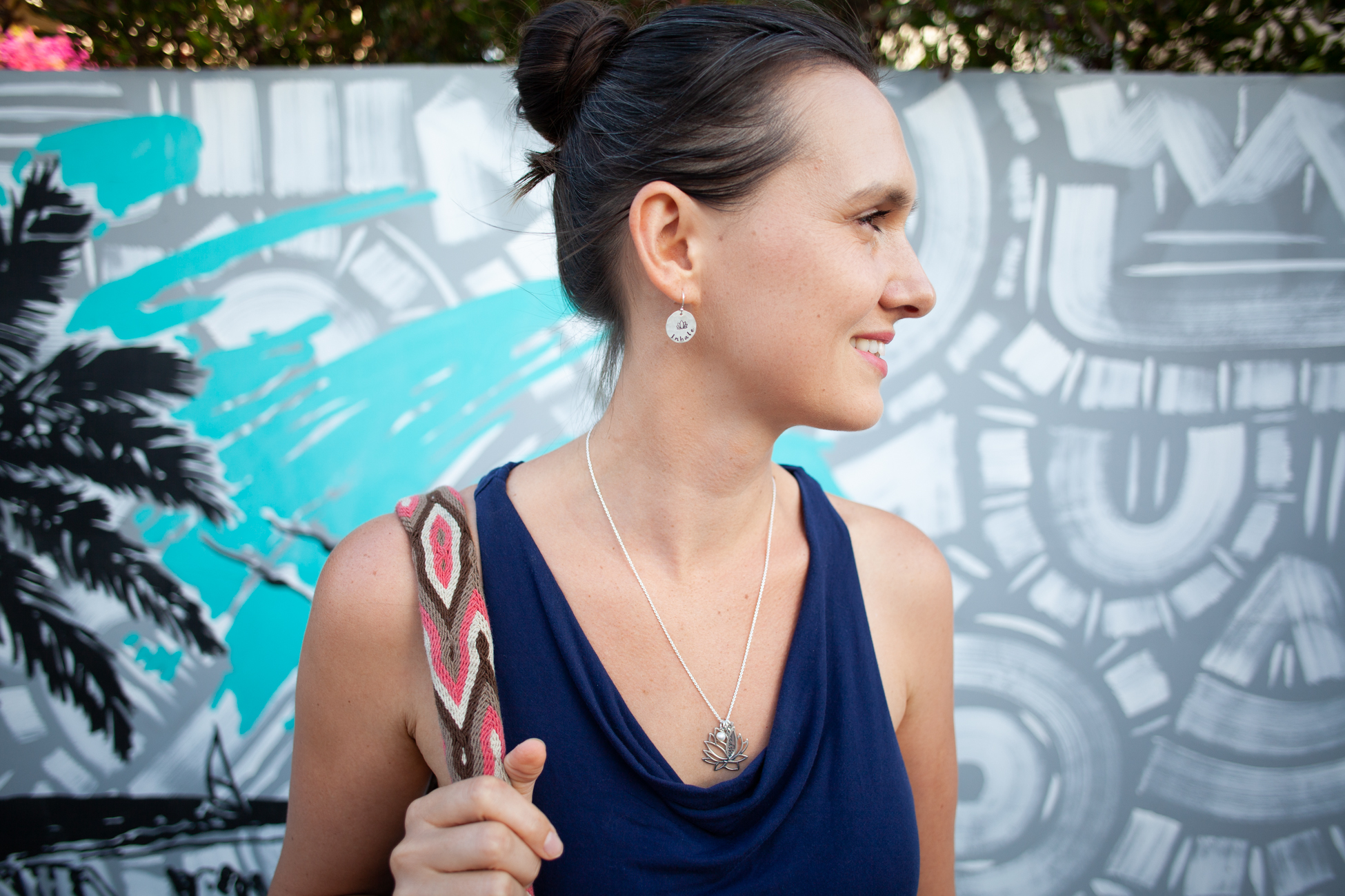 Fig 8. Photograph for Tracy Tayan Designs of earrings and necklace, mural in background is by  Kelcey Fisher  in Venice, California.