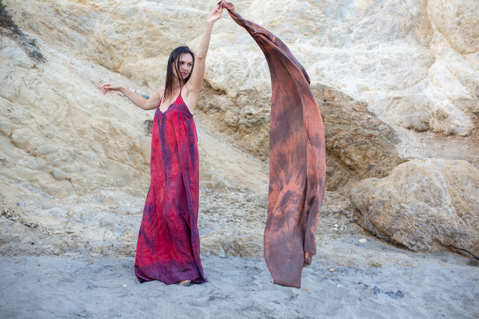 Fix 19. Photographing Hand-dyed textiles by  Atelier Maria Maurio  on Leo Carrillo Beach at sunset.