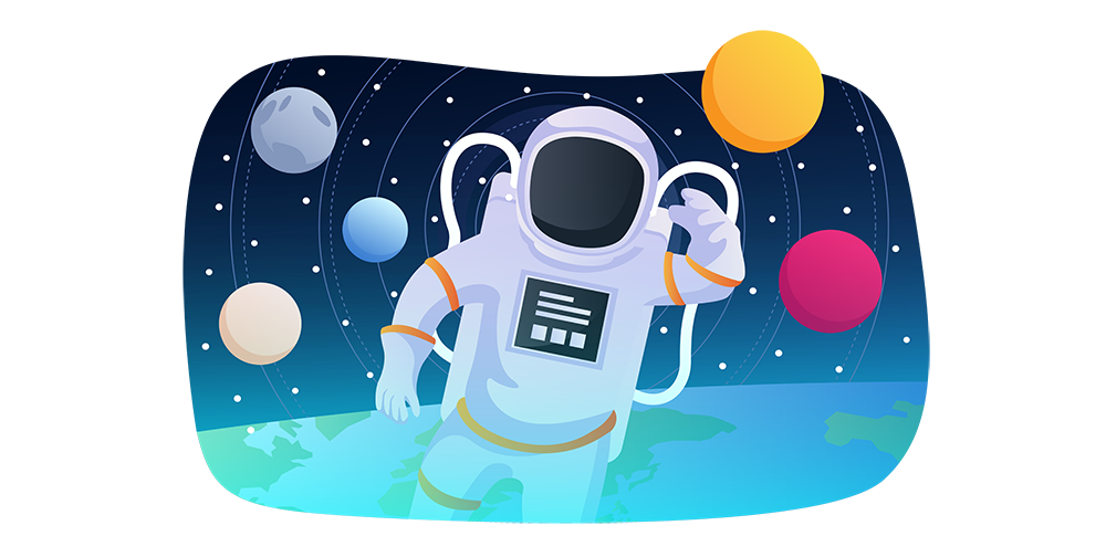 Creative Digital Marketing Agency Mission Space Illustration