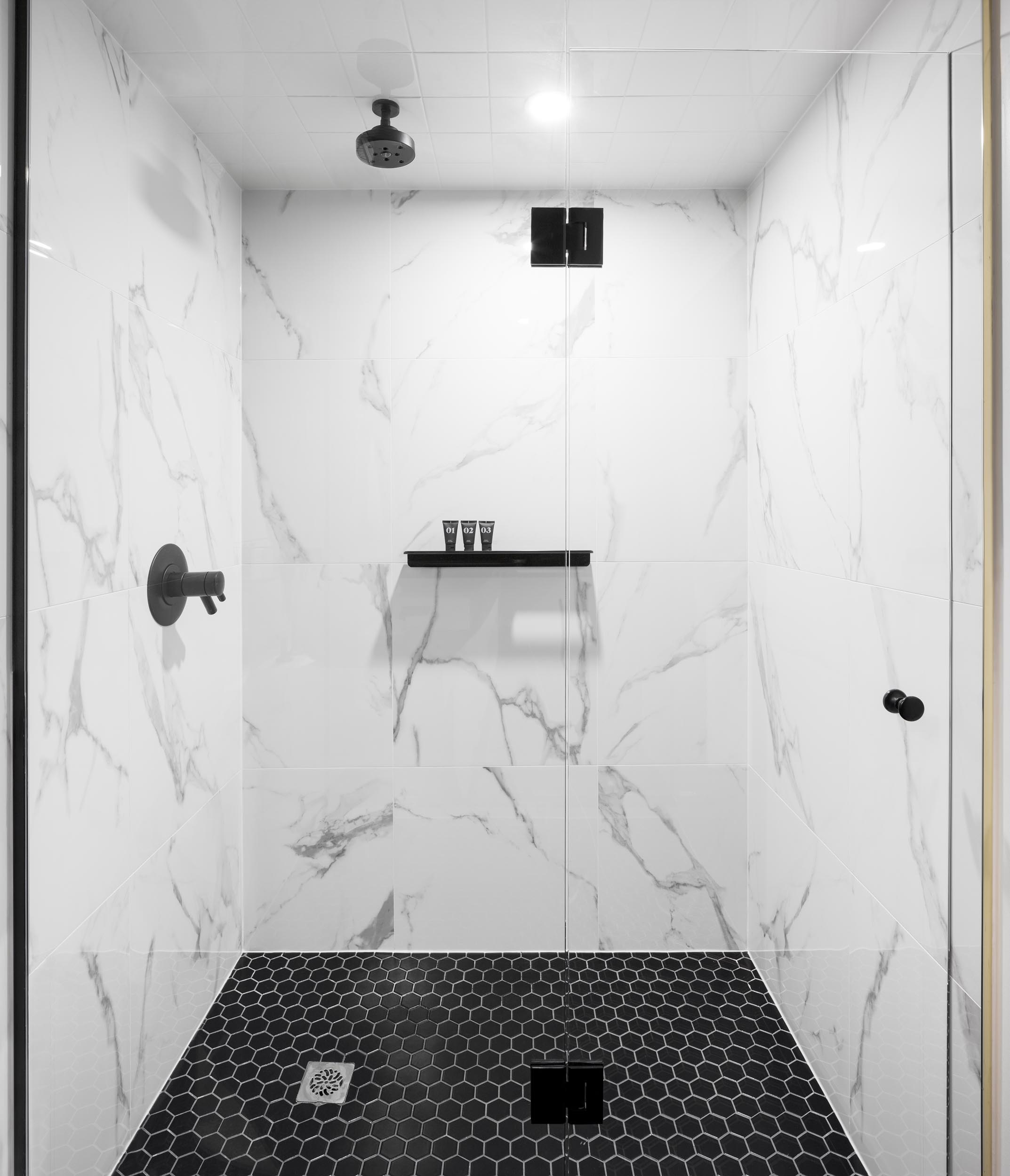Marble Shower Interior Design Inspiration Photography by Worker Bee Supply