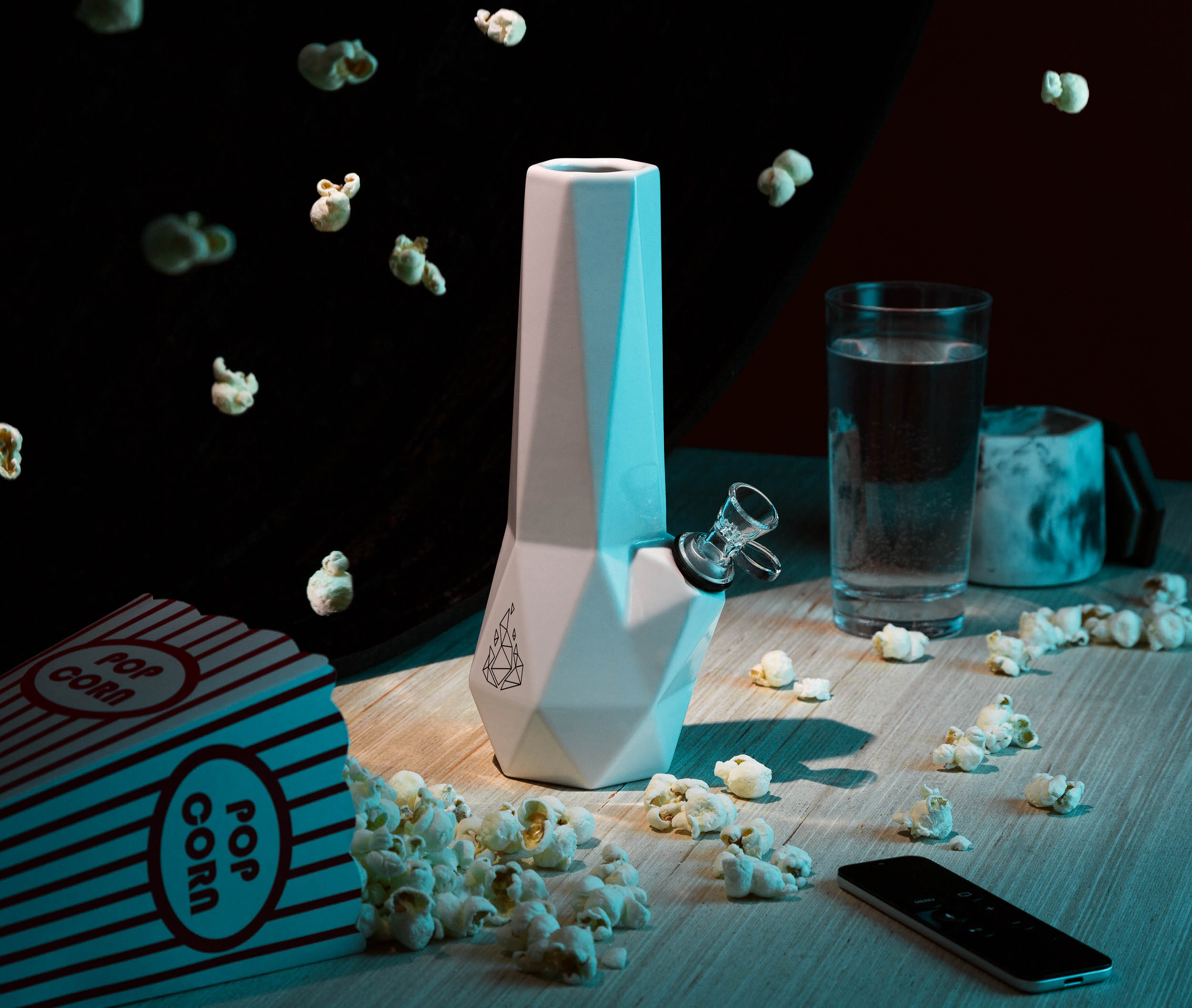 Conceptual product photography for BRNT of Hexagon cannabis bong