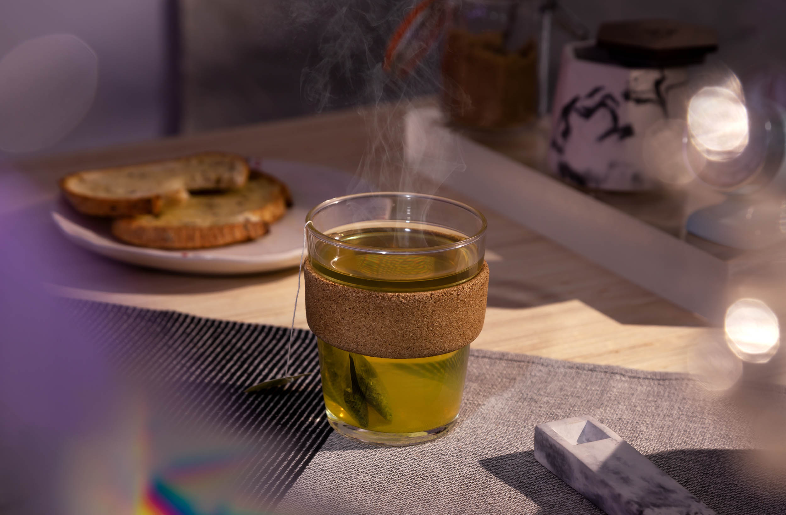 Steaming green tea social media photography for BRNT