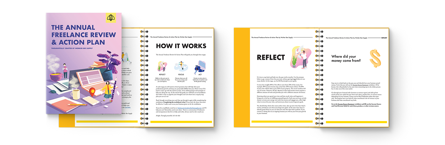 Freelance Action Plan e-book by Worker Bee Supply with Tips, Strategies, &Printable Worksheets