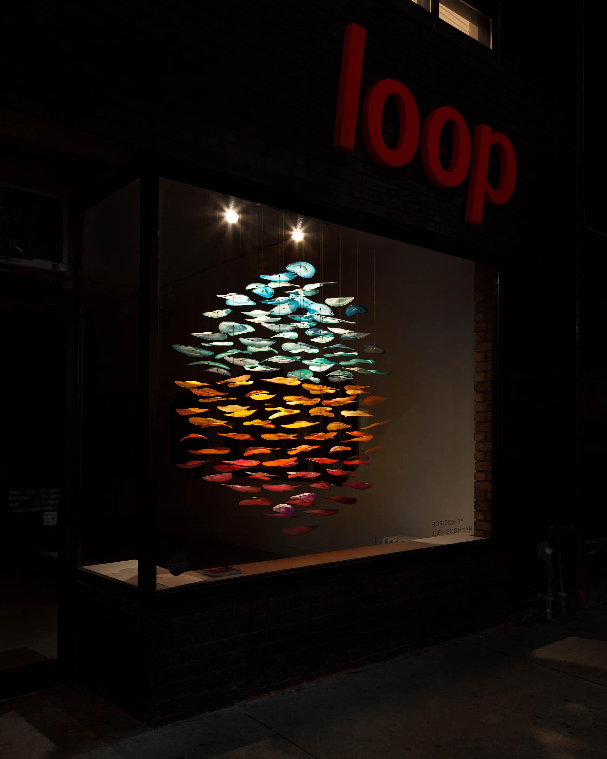 Exhibition Photos by Worker Bee Supply of Blown Glass Sculpture Horizon by Jeff Goodman Studio