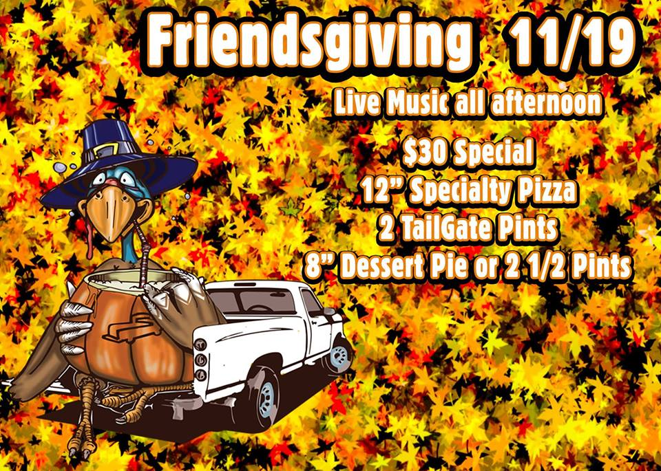 Sunday before Thanksgiving we'll be celebrating the things we're thankful for - pizza, beer, and our community. Come in enjoy a special offer on food and beer available for purchase all day, day of as well as music all afternoon!