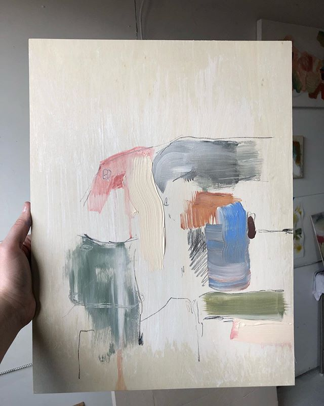 Sharing immediately because they never look better to me than when they are wet and fresh and temporary. . . . Acrylic and graphite on a lil pine panel 🌲 . . . . #fresh #painting #contemporarypainting #abstractpainting #acrylicpainting #creativepractice