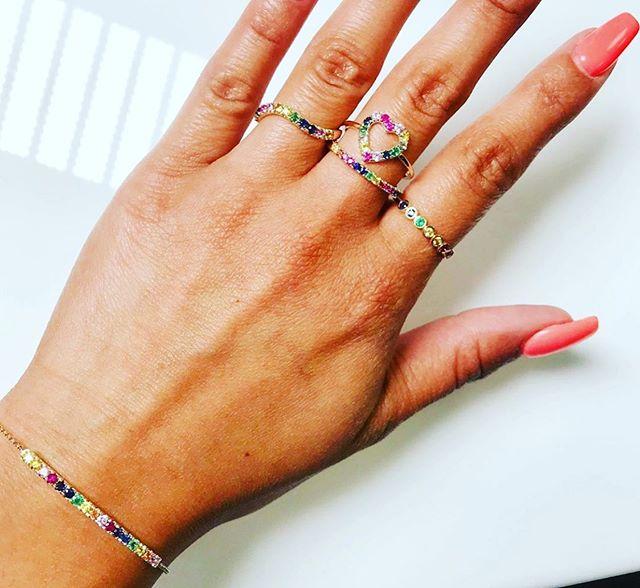 Rainbow 🌈 #shellybeckerdesigns #ring #bracelets #sunday