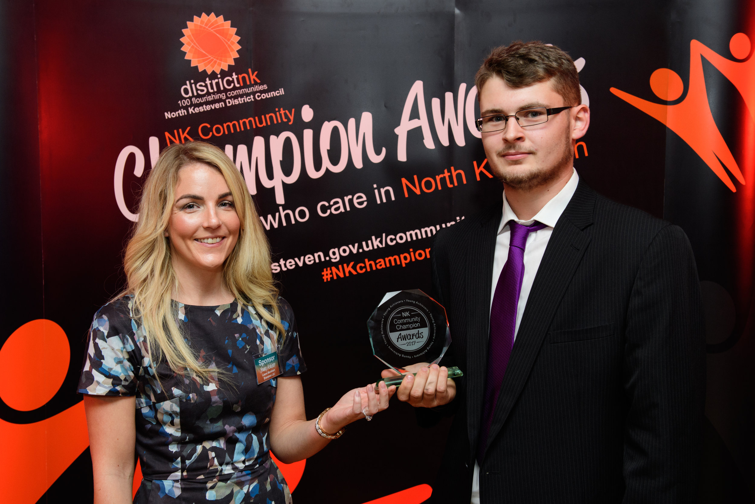 Laura Markham, Branston Ltd presents the Young Achiever award to Callum Ball.