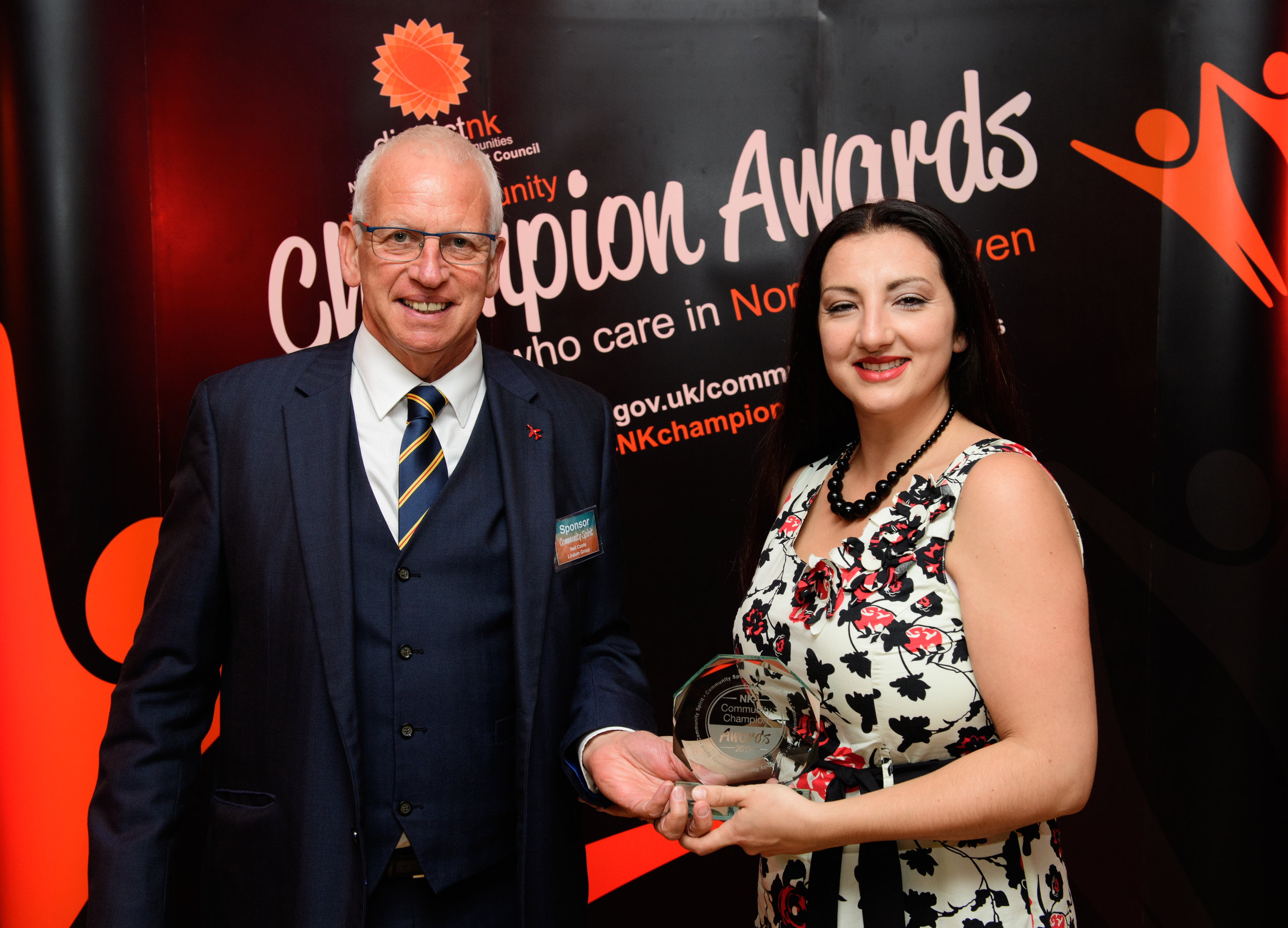 Neil Coote, Lindum Group Ltd presents the Community Spirit award to Vivien Banks.