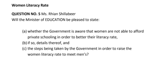Question raised by Hon'ble Member of the Opposition Party, Rhian Shillabeer