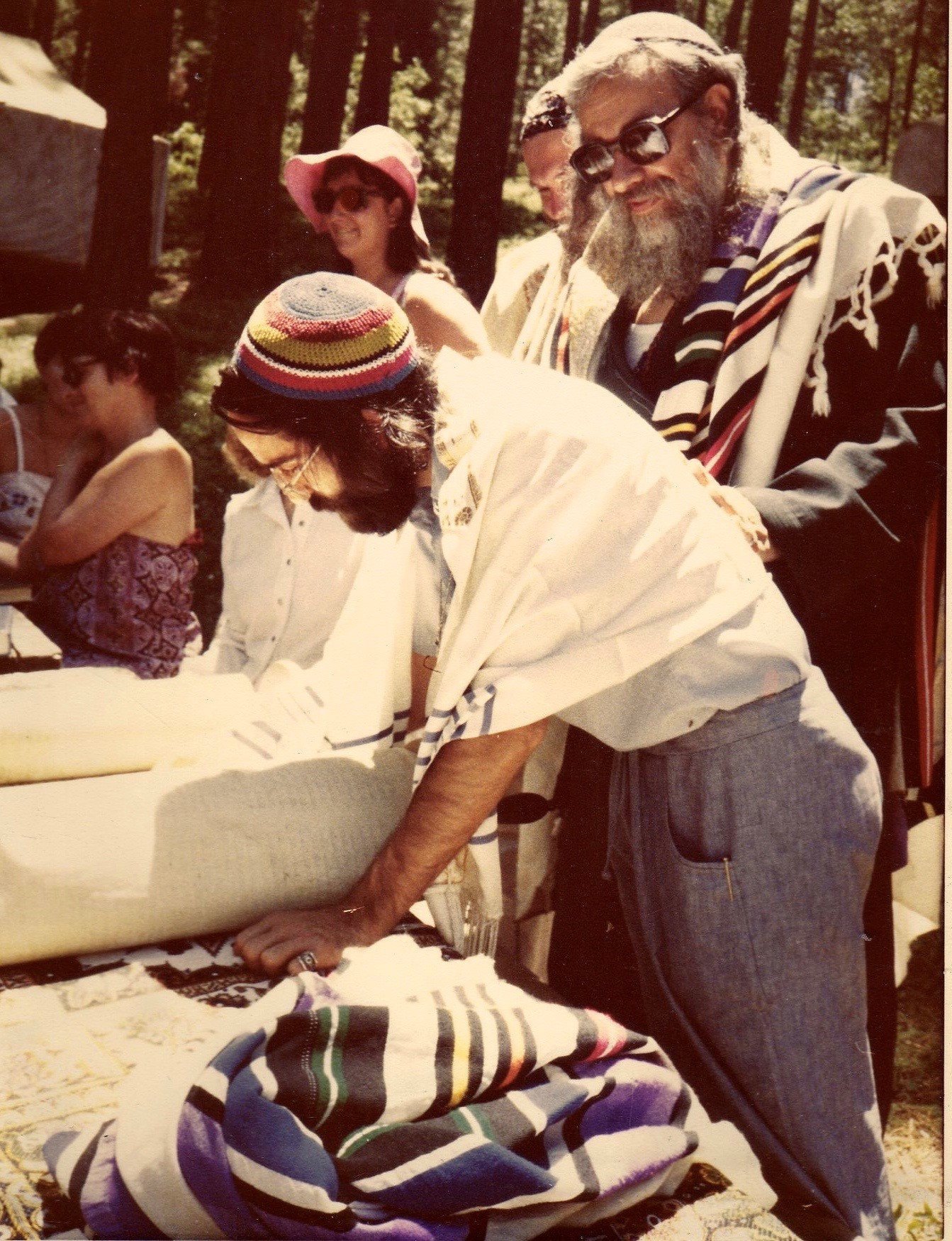 Simcha Raphael reading from the Torah, with Reb Zalman. Ben Lomand, CA, 1979