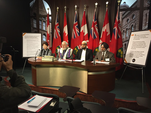 Myself along with a Protestant Minister, a Muslim Imam and a Sikh cleric releasing the Faith Leader's Statement in the Media Studio of our provincial legislative building at 9 AM May 30 erev Shavuot