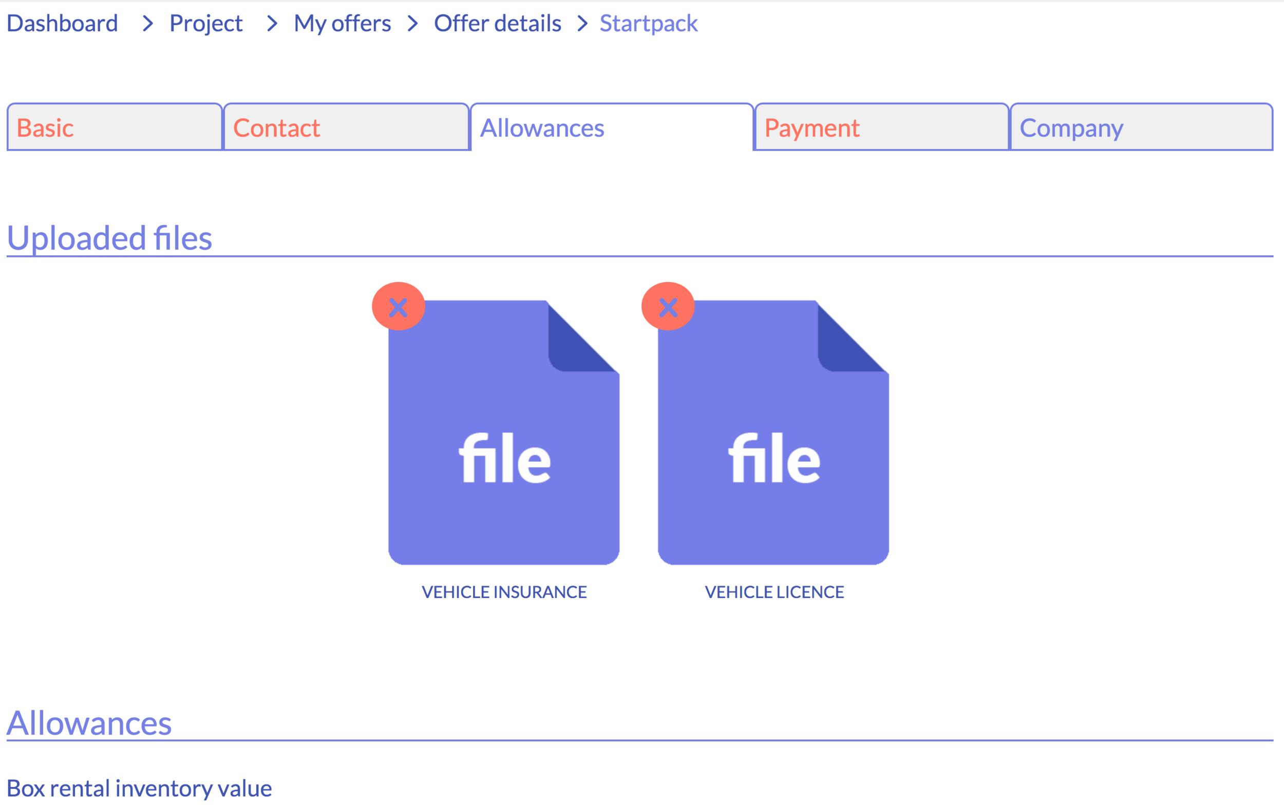 file uploads in startpack