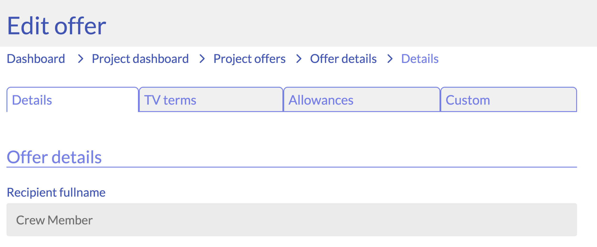 edit offer in tabs
