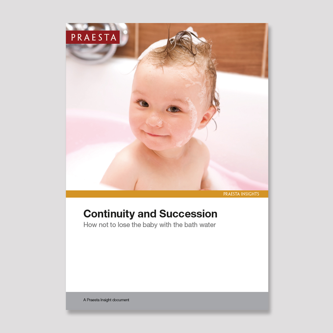 Continuity and Succession   How not to lose the baby with the bathwater   The purpose of this Insight document is to prompt thinking and action that de-risks chief executive succession. It is informed by our knowledge of what happens before and after a change of guard at the top.   Download PDF