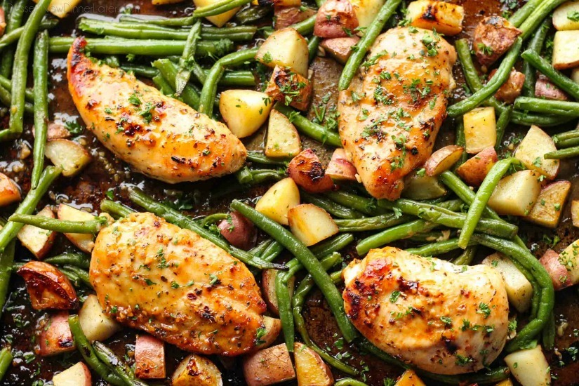 One Pan Honey Garlic Chicken with Red Potatoes and Green Beans  -