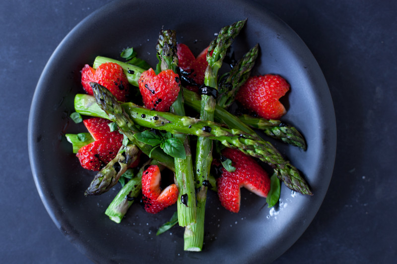 Balsamic Strawberries and Asparagus  -