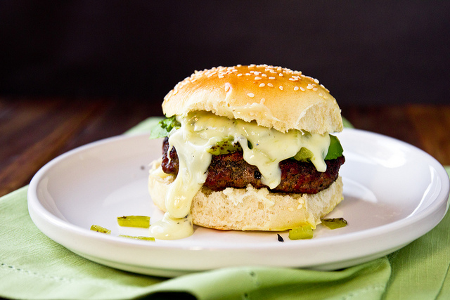 Stuffed Hatch Green Chile Cheese Burger -