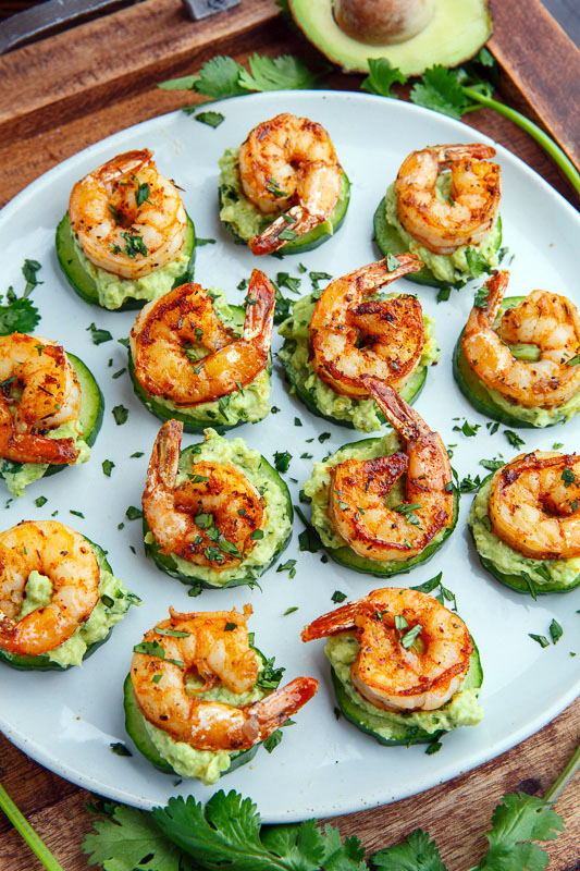 Blackened Shrimp Avocado Cucumber Bites -