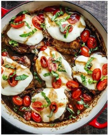 Balsamic Glazed Caprese Chicken -