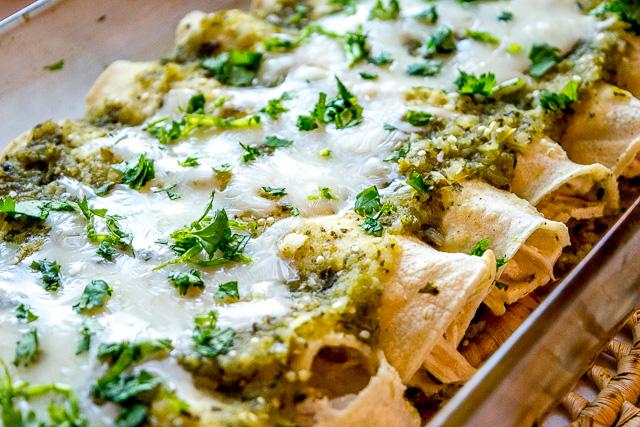 Chicken Enchiladas in Poblano Sauce  -