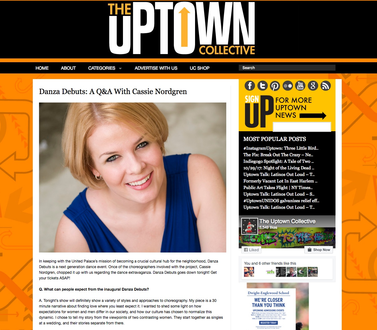 """Thrulines' Founder, Cassie Nordgren, speaks to uptown Collective! - """"In keeping with the United Palace's mission of becoming a crucial cultural hub for the neighborhood, Danza Debuts is a next generation dance event. Once of the choreographers involved with the project, Cassie Nordgren, chopped it up with us regarding the dance extravaganza…."""""""