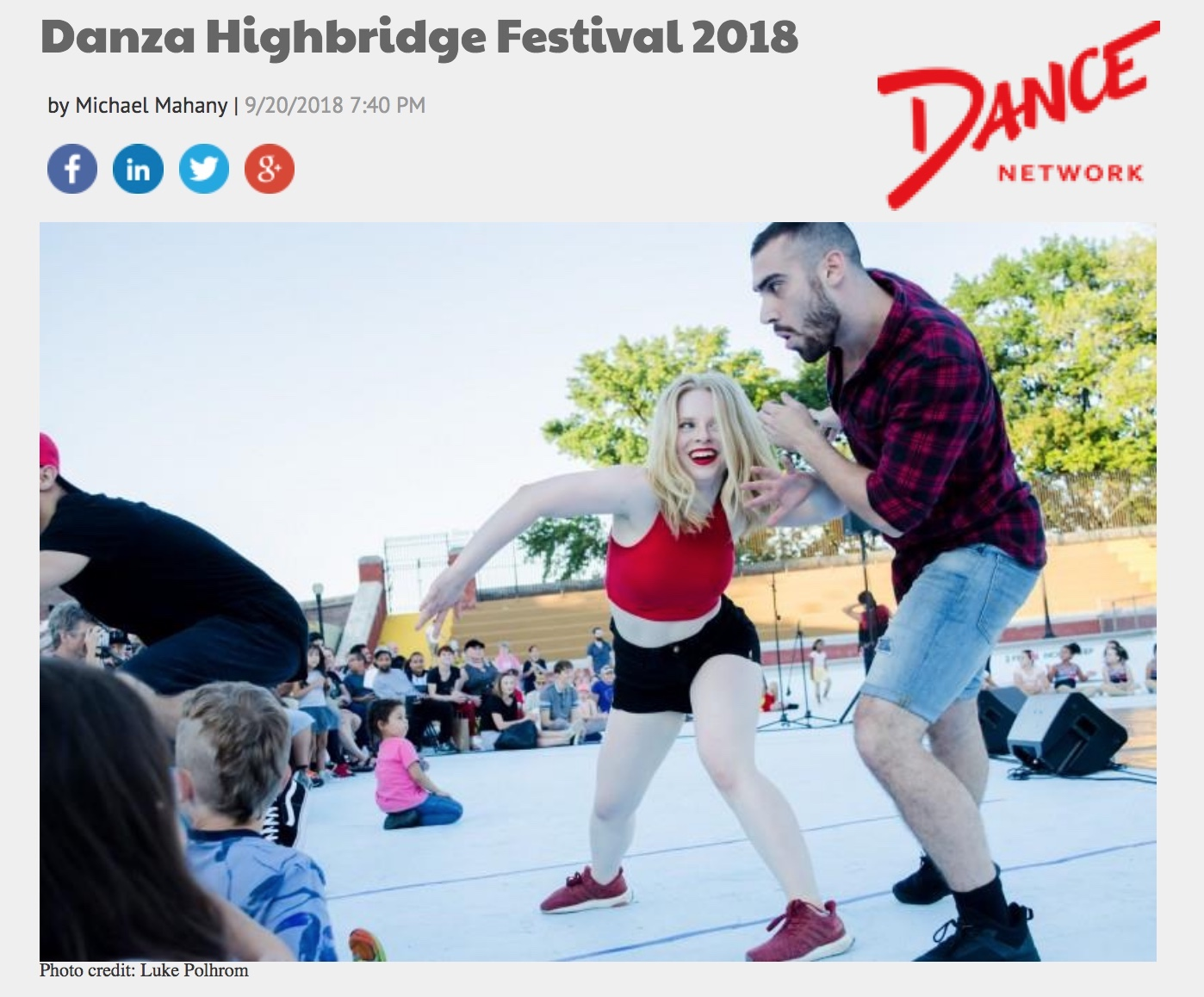 """ThruLines Featured on Dance Network! - """"The United Palace of Cultural Arts is gearing up for the third annual Danza Highbridge Festival on September 22nd. The, now yearly, late summer outdoor dance festival takes place in the drained Highbridge Park swimming pool, in the Washington Heights neighborhood of upper Manhattan. Cassie Nordgren, a remarkable New York City choreographer, brings her passion for sharing and celebrating dance with the uptown community and curates the concert…"""""""