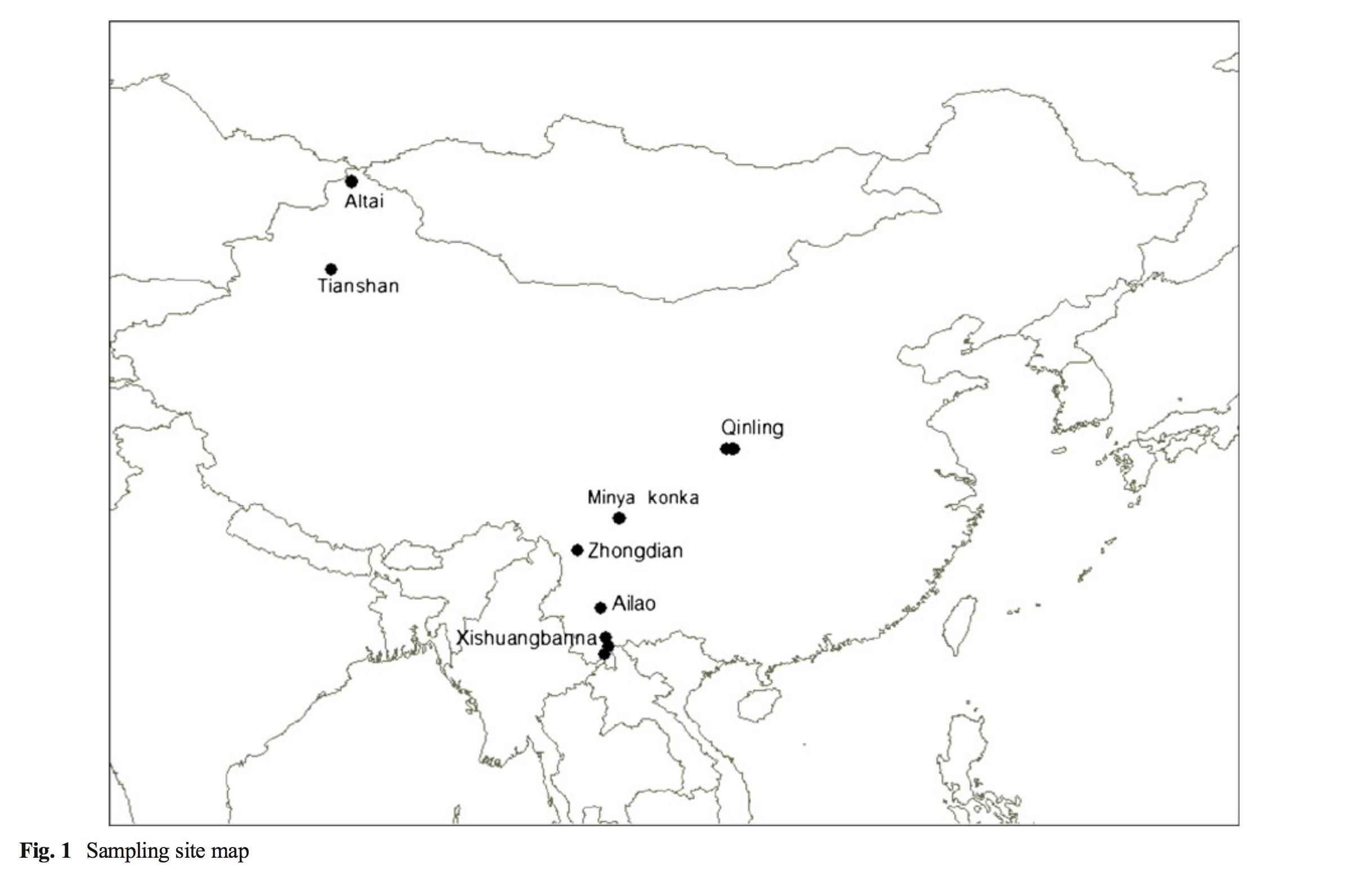 Sites used for latitudinal sampling  Ling-Ling Shi et. al. 2013.
