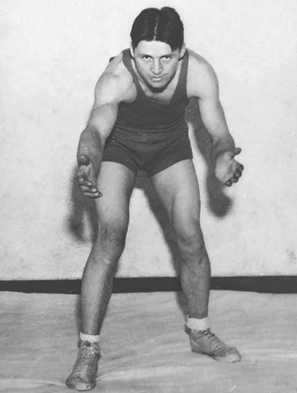 Norman Borlaug wrestling at the  University of Minnesota .