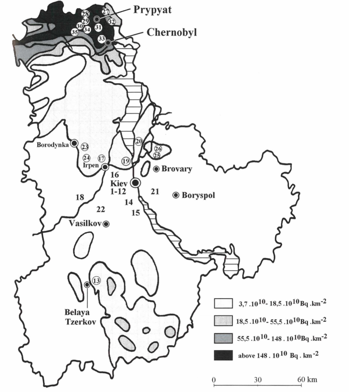 All of the Ukrainian sites sampled.Grodzinskaya et al. 1994.