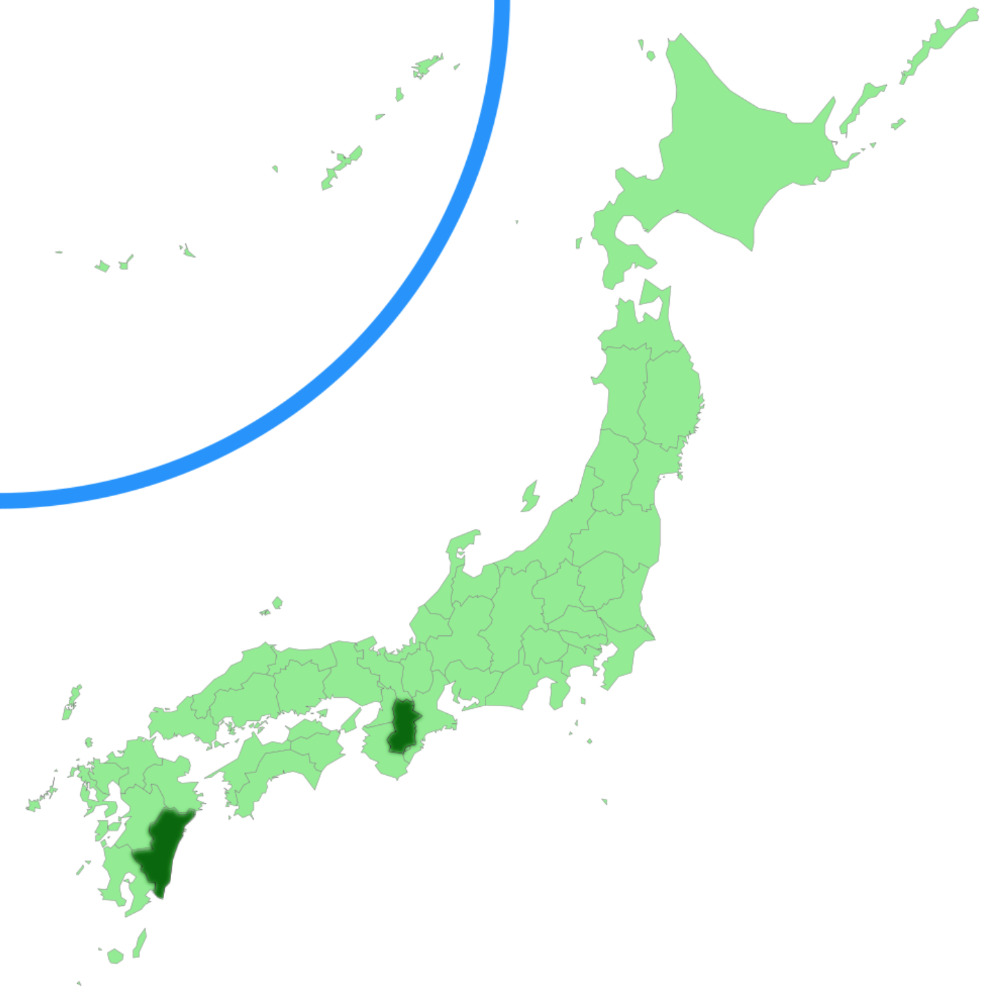 Chorioactis geaster  distribution.
