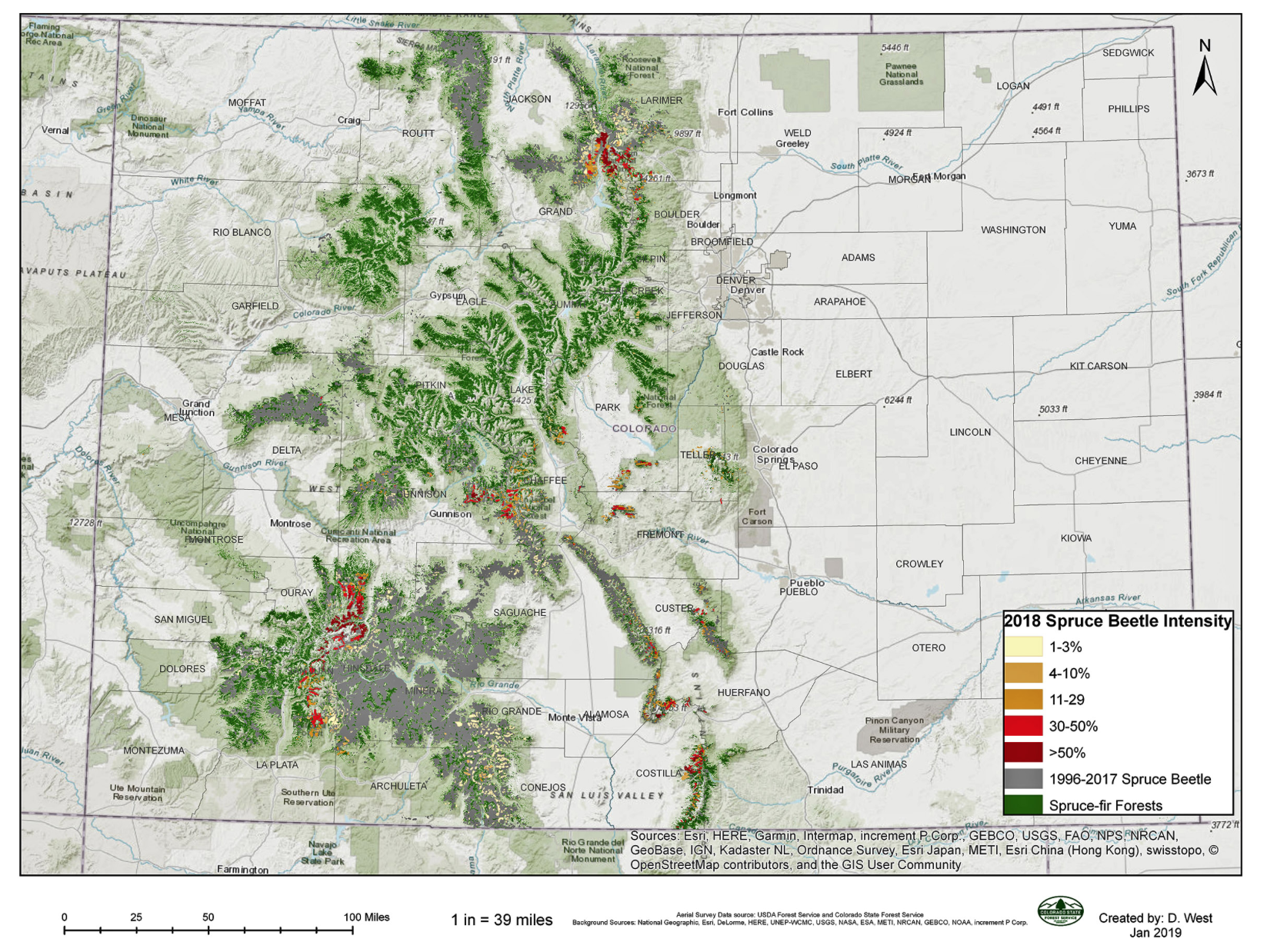 The spruce beetle outbreak in Colorado.