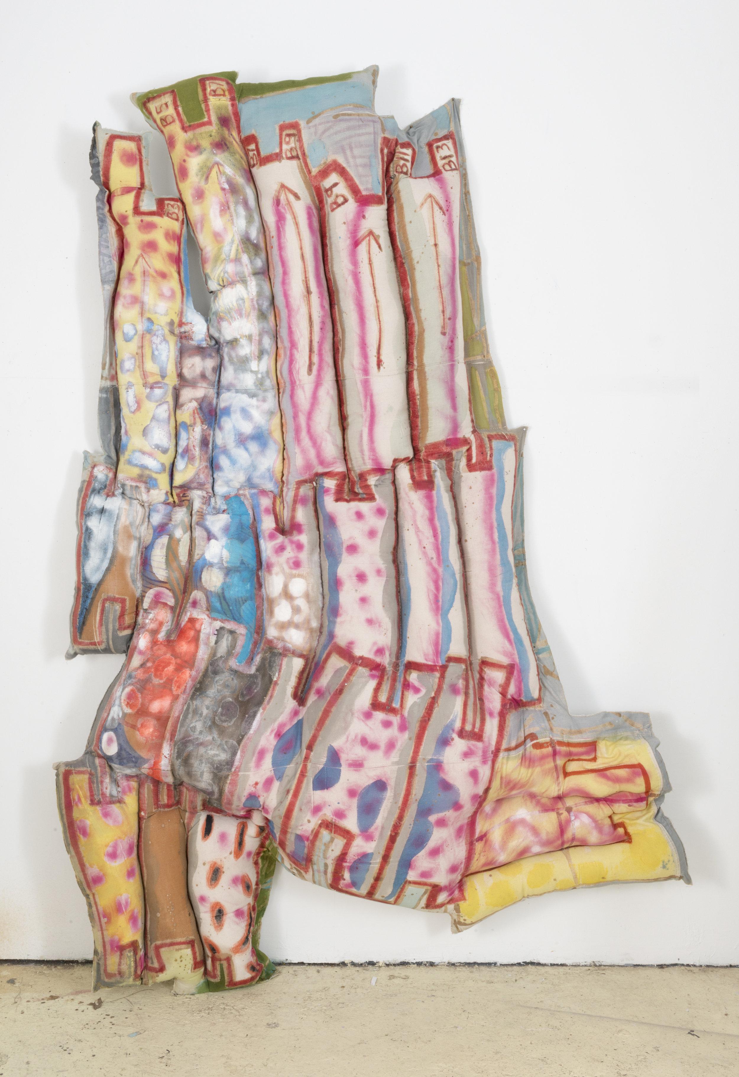 Slump , 2017, Acrylic, dye, canvas, thread, polyfil stuffing, Dimensions Variable