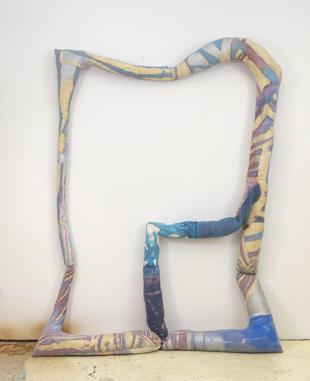 Blue Elbow Frame , 2017, Muslin, Felt, satin, dye, beeswax, acrylic, thread, polyfil stuffing, 108h x 72w x 9d in