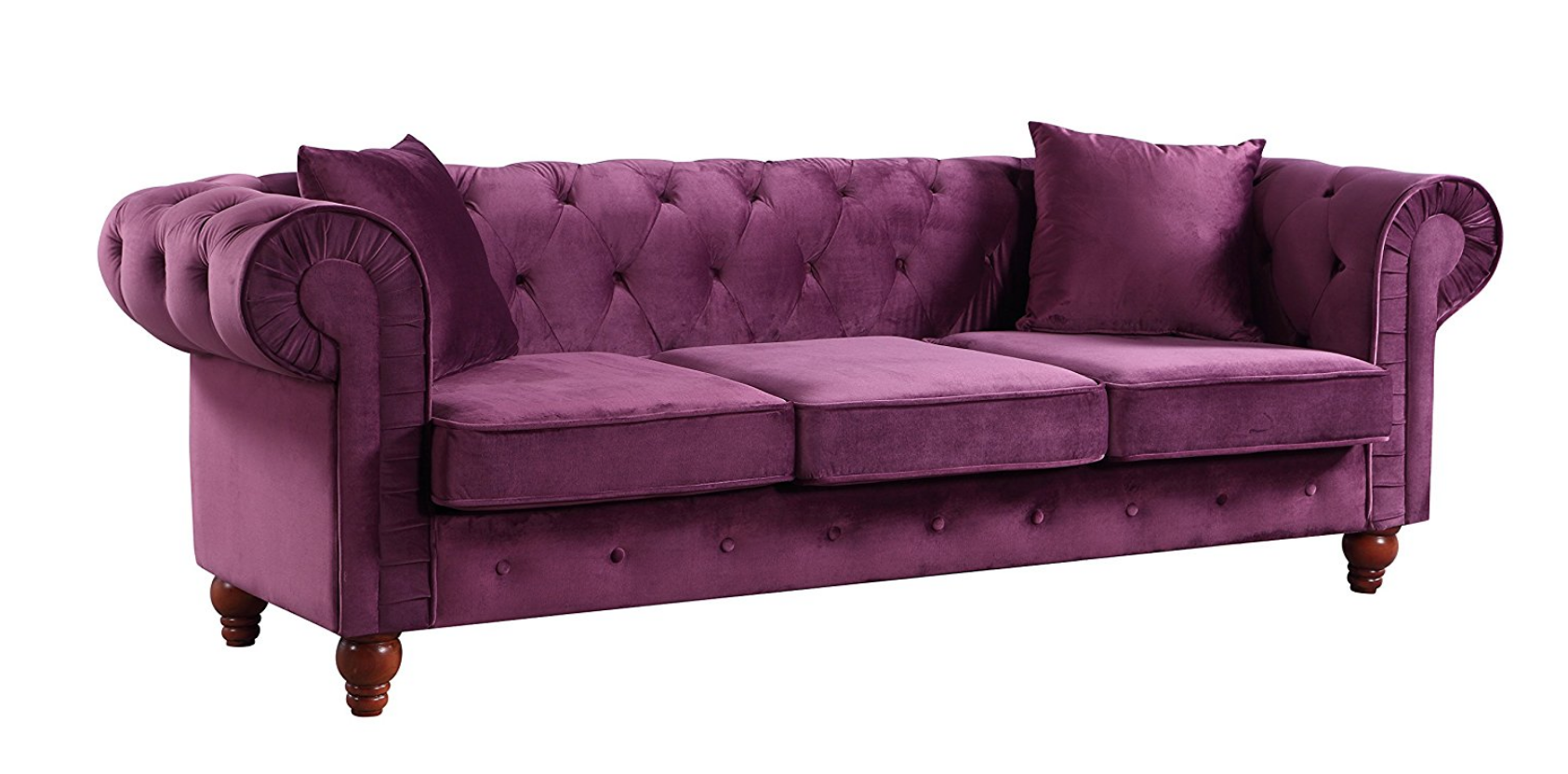 Purple Velvet arm tufted button style sofa.png