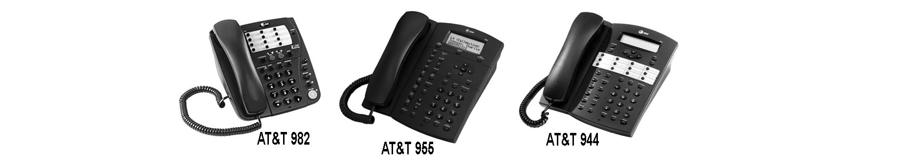 Three of the many new AT&T business phones