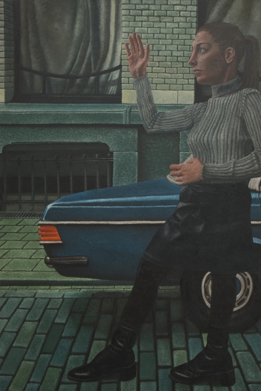 'He waves his arm to the girl on the street', oil on canvas, 180 x 120 cm