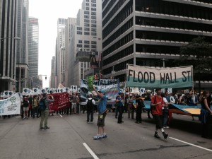 """""""Flood Wall Street"""" the well organized Occupy Wall Street group at the People's Climate March"""